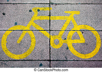Yellow Bike Lane Sign