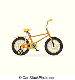 Yellow bike with training wheels, kids bicycle vector...