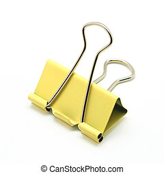 binder clip - yellow binder clip isolated on white...
