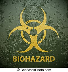 Yellow biohazard symbol on a green military background. Warning