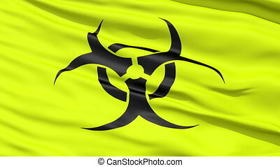 Yellow Biohazard Symbol Wavy Fabric - A close up background...