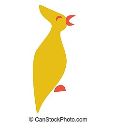 Yellow bird flat color illustration on white