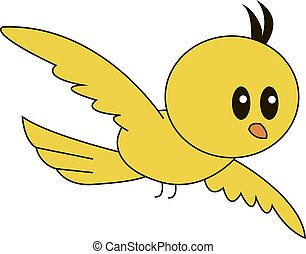 Yellow bird flying, illustration, vector on white background.