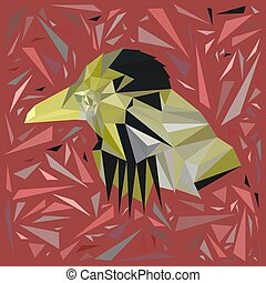 Yellow bird in a frame of scattered pink triangles.