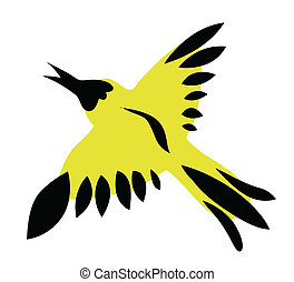 yellow bird on white background