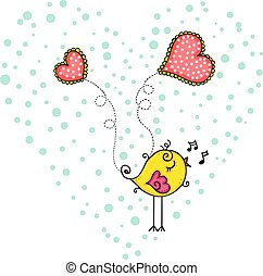 Yellow bird singing inside heart