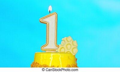 Yellow birthday cake