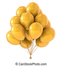 yellow birthday party balloons bunch decoration glossy