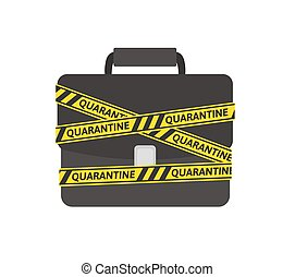 """Yellow-black barricade tape with """"quarantine"""" word wrapped around a briefcase. Coronavirus self-isolation concept. Flat vector illustration, isolated on white background."""