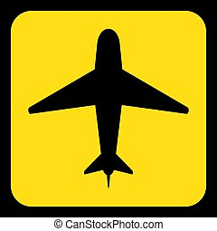 yellow, black information sign - airliner icon