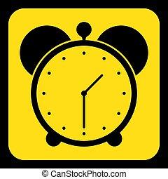 yellow, black information sign - alarm clock icon