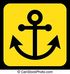 yellow, black information sign - anchor icon