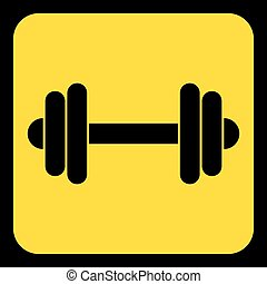 yellow, black information sign - dumbbell icon