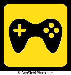 yellow, black information sign - gamepad icon