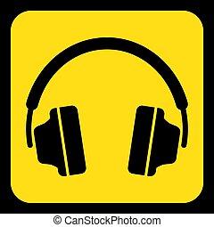 yellow, black information sign - headphones icon
