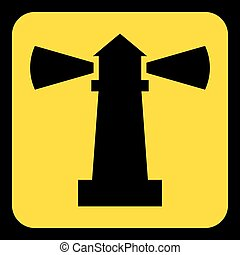 yellow, black information sign - lighthouse icon