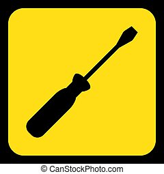 yellow, black information sign - screwdriver icon