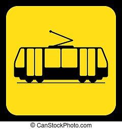 yellow, black information sign - tram, streetcar - yellow...