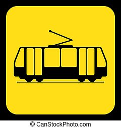 yellow, black information sign - tram, streetcar - yellow...