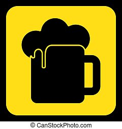 yellow, black sign - beer with foam icon