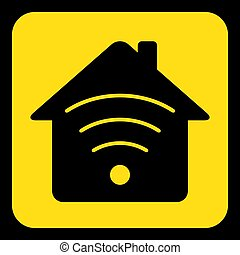 yellow, black sign - house with signal icon