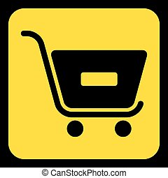 yellow, black sign - shopping cart minus