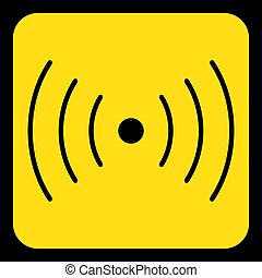 yellow, black sign - sound, vibration symbol icon