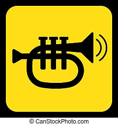 yellow, black sign - trumpet, sound icon