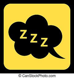 yellow, black sign - ZZZ speech bubble icon