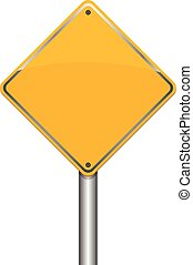 yellow blank road sign