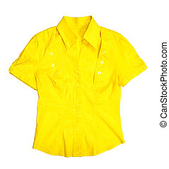 Yellow blouse. Isolated on white background with clipping...