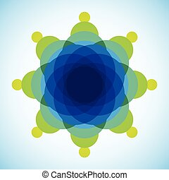 Yellow, blue and green blended transparent circles on white background