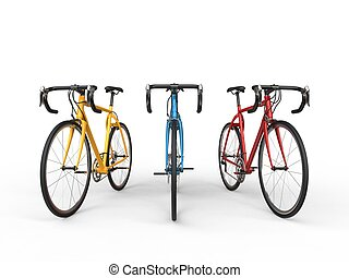 Yellow, blue and red pro sports bikes