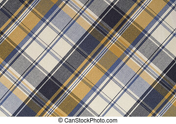 Yellow, Blue, and White Plaid Cloth
