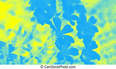 Yellow blue background with flowers pattern, vivid panorama background