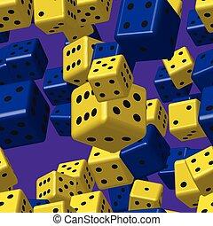 Yellow Blue Dice Seamless Pattern