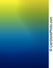 yellow blue dot halftone gradient background.