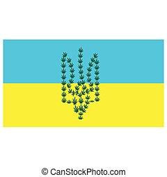 yellow-blue, foglie, flag., canapa, ucraina, emblema, fondo