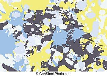 Yellow blue grey ink splashes background