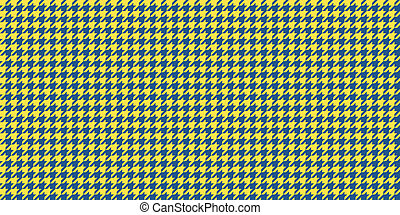 Yellow Blue Seamless Houndstooth Pattern Background. Traditional Arab Texture. Fabric Textile Material.