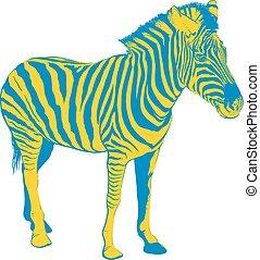 Yellow Blue Zebra