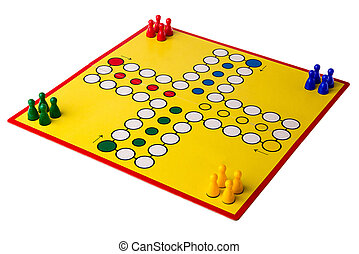 Yellow board game with four different colored game pawns on...