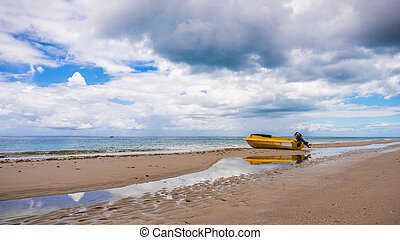 Yellow Boat Low Tide Beach Moreton Island Australia