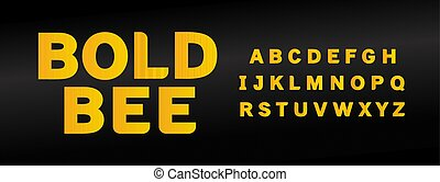 Yellow bold bee font with capital letters set. Eye catching ...