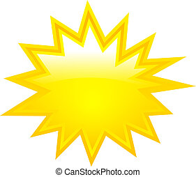 Yellow boom vector star isolated on white