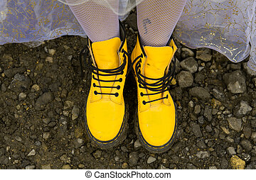 Yellow boots. Top view.