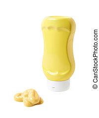Yellow bottle of mustard isolated