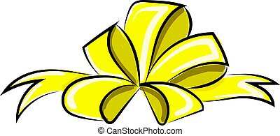 Yellow bow, illustration, vector on white background.