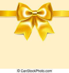 Yellow bow of silk ribbon, isolated on yellowish background....
