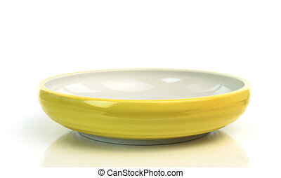 yellow bowl isolated on white background